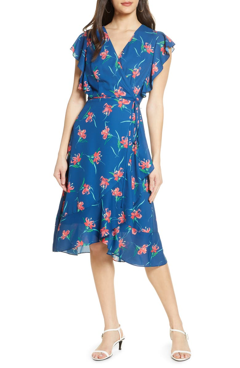 CHARLES HENRY Floral Ruffle Sleeve Faux Wrap Dress, Main, color, 473