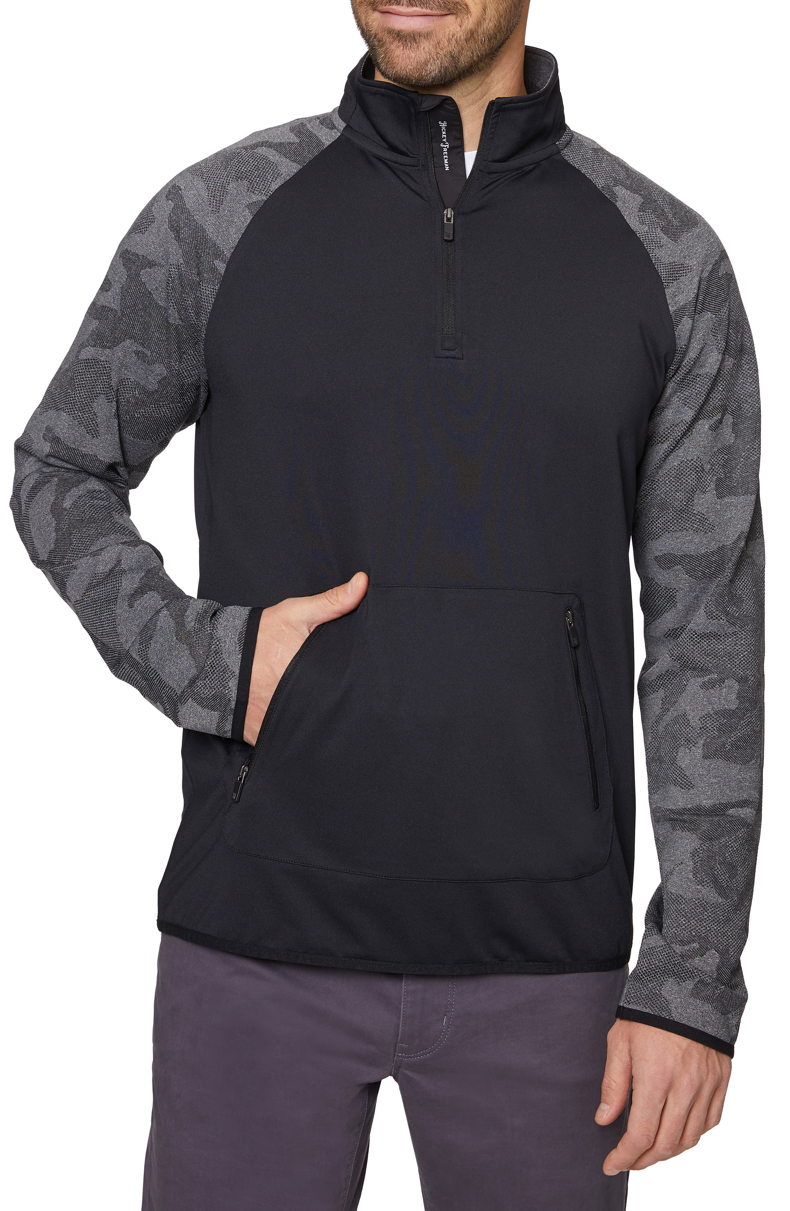 Pieced Quarte Zip Pullover