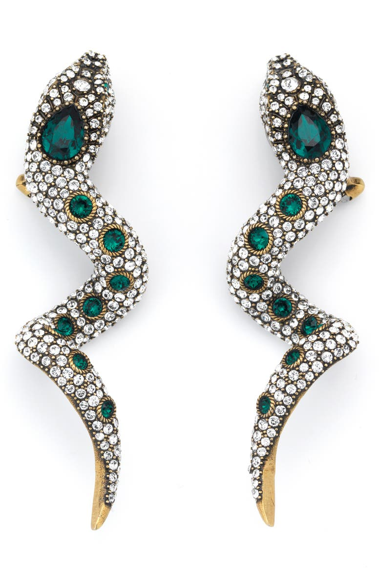 GUCCI Snake Crystal Clip-On Drop Earrings, Main, color, GOLD