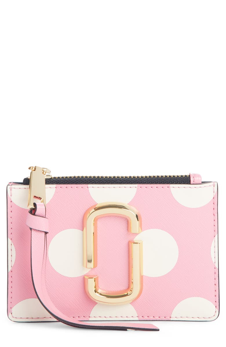 THE MARC JACOBS MARC JACOBS Dot Leather Card Case, Main, color, 650