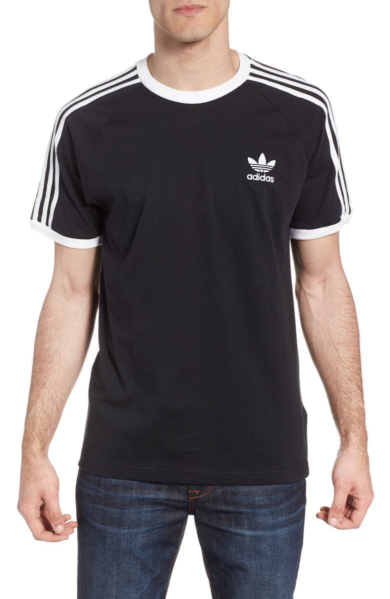 ADIDAS ORIGINALS 3-Stripes T-Shirt, Main, color, BLACK