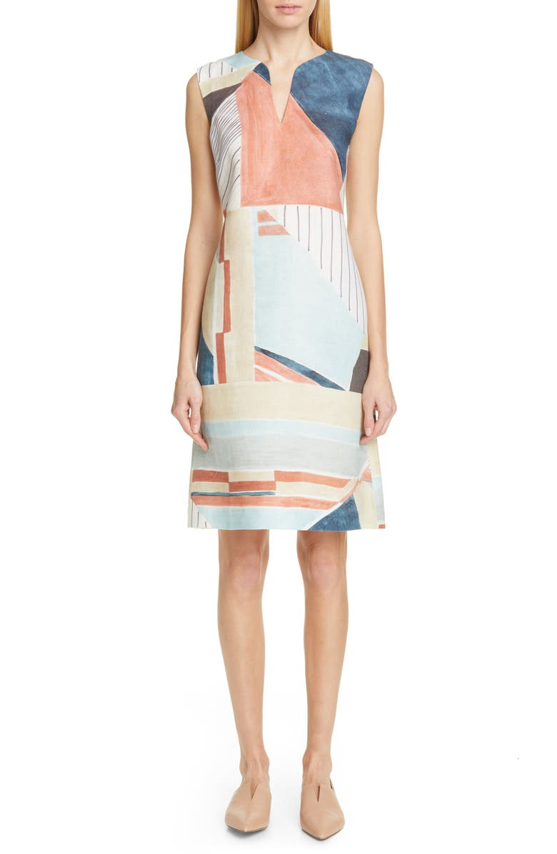 LAFAYETTE 148 NEW YORK Taren Linen Shift Dress, Main, color, 400