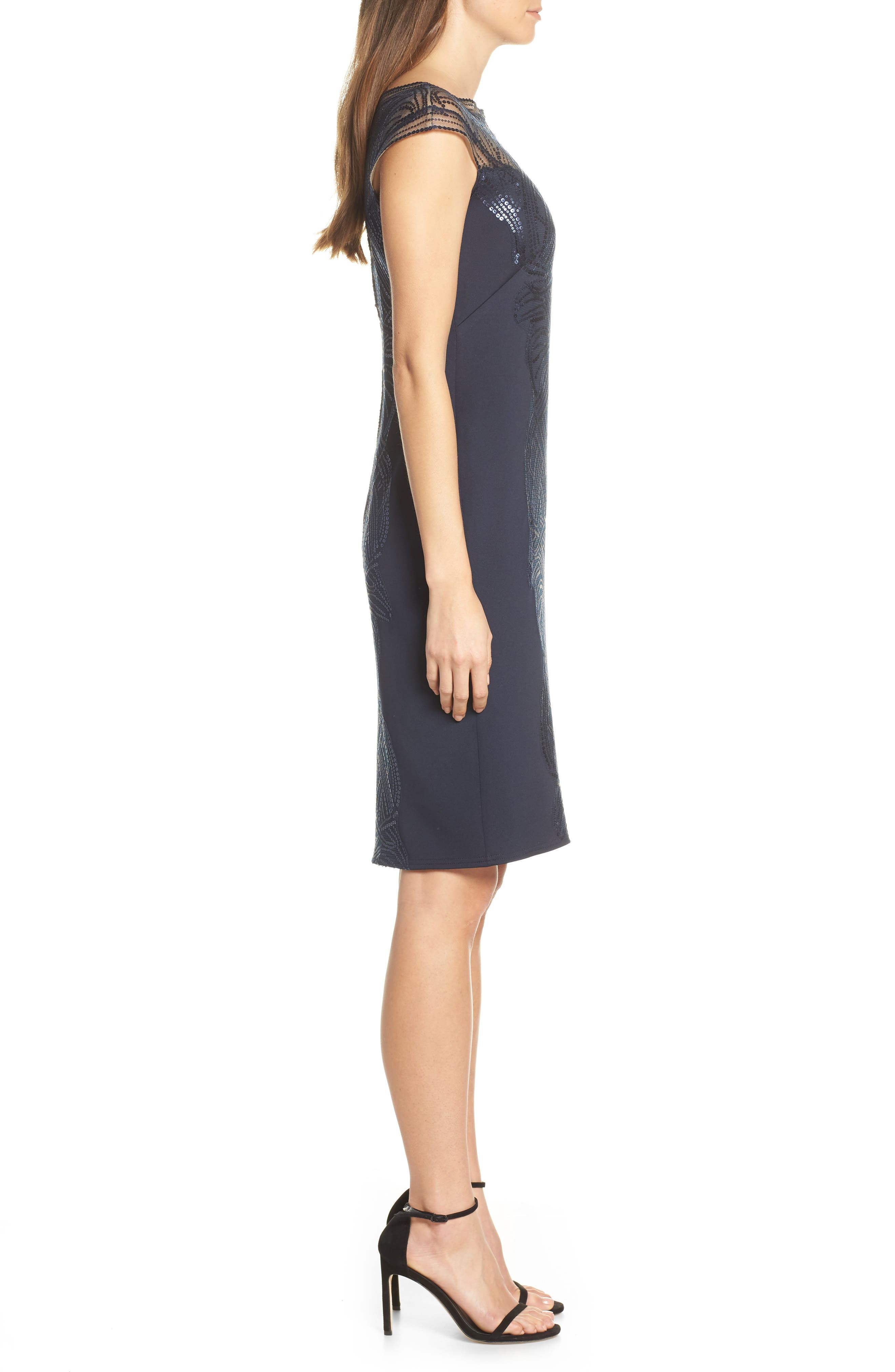 ,                             Sequin Sheath Dress,                             Alternate thumbnail 4, color,                             NAVY