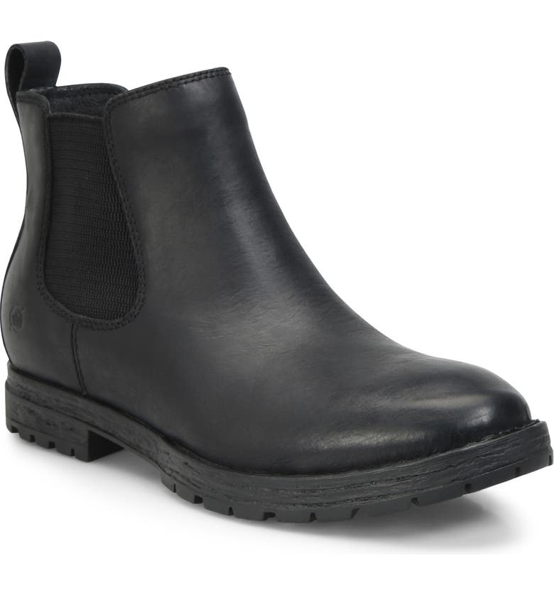 BØRN Pike Mid Waterproof Chelsea Boot, Main, color, BLACK LEATHER