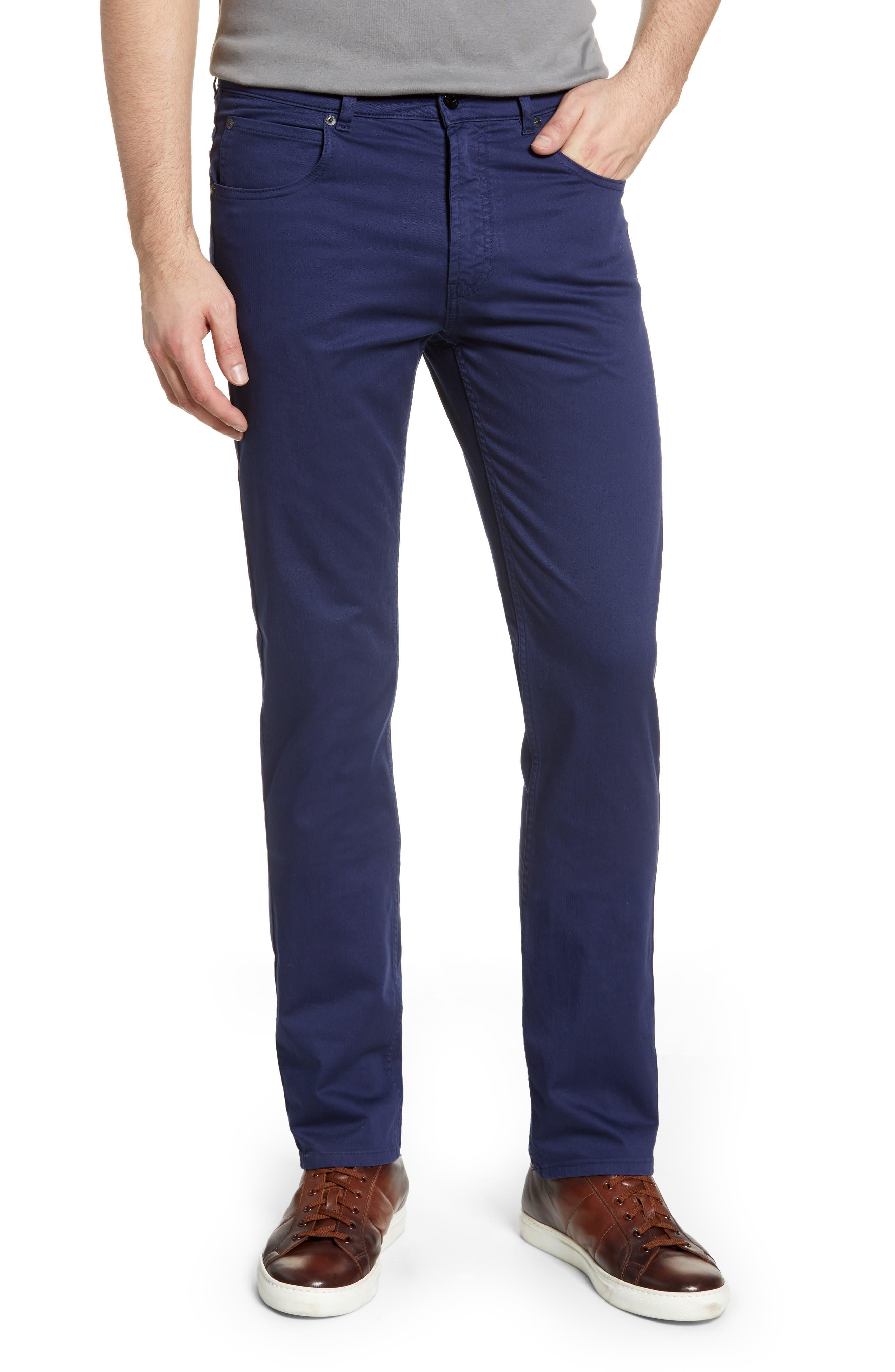 men's bugatchi slim straight leg five-pocket pants, size 40 - blue