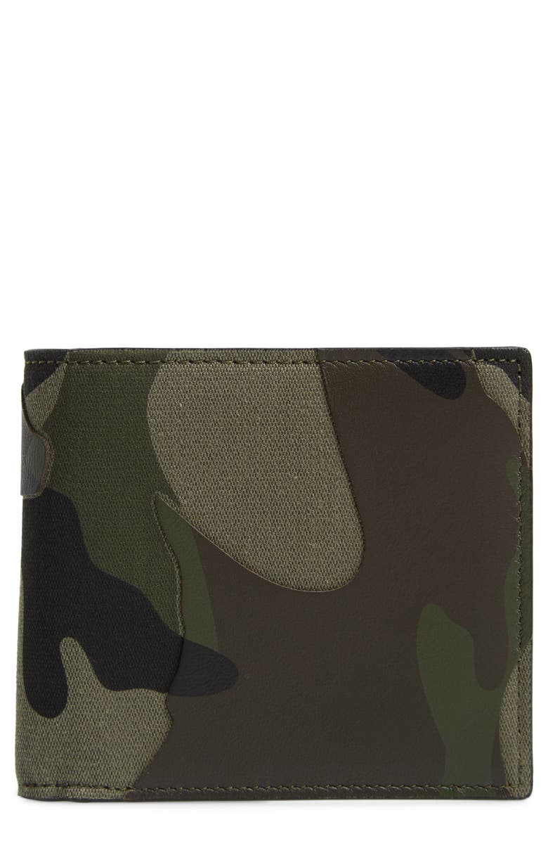 VALENTINO Camo Billfold Wallet, Main, color, 398