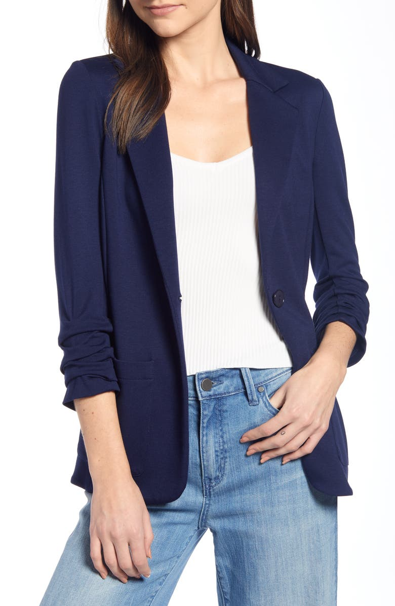 BAILEY 44 'Jane' Ruched Sleeve Knit Blazer, Main, color, 405