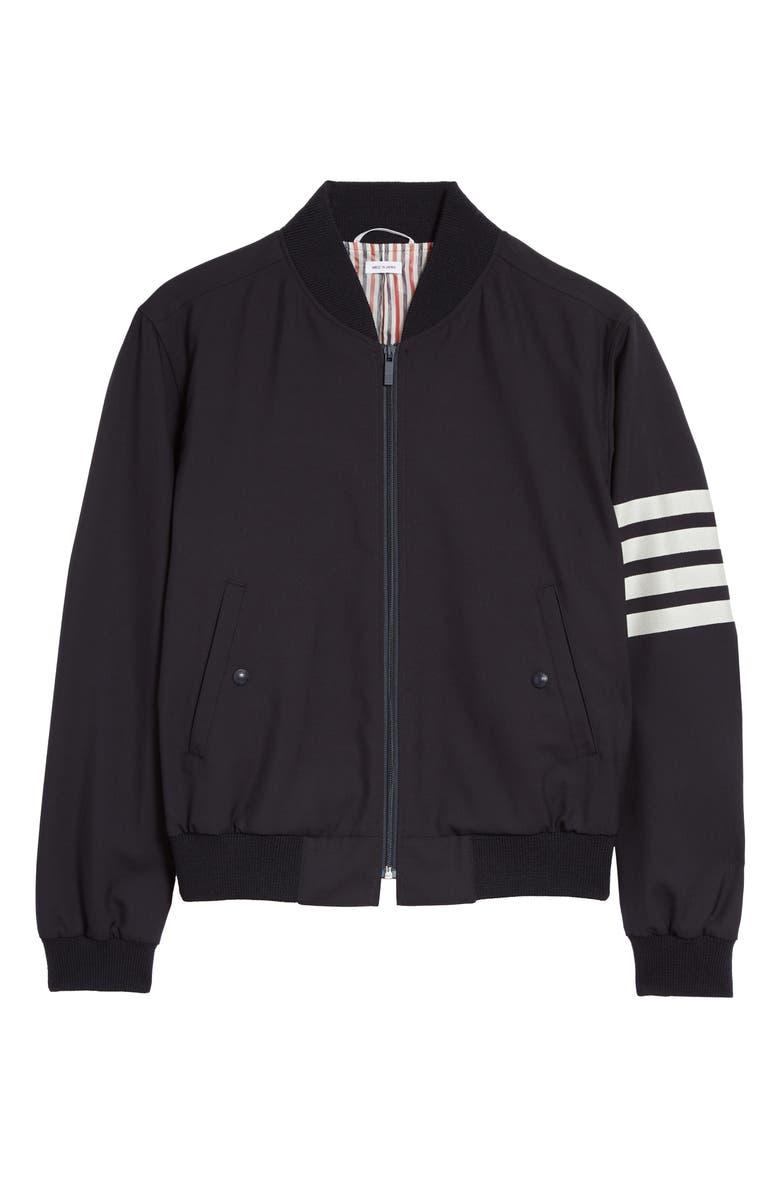 THOM BROWNE 4-Bar Wool Jacket, Main, color, NAVY