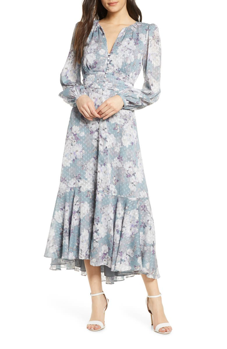EVER NEW Floral Long Sleeve High/Low Midi Dress, Main, color, 400