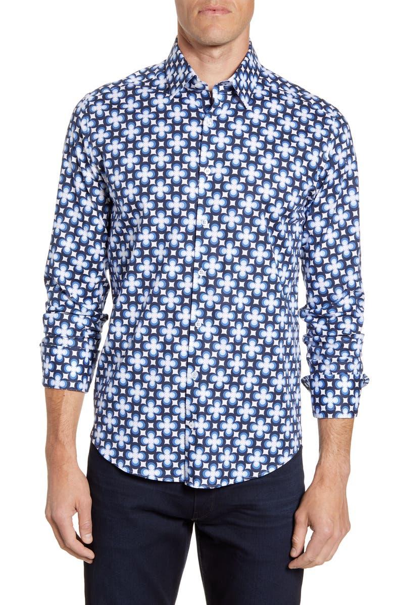 STONE ROSE Regular Fit Postmodern Print Button-Up Sport Shirt, Main, color, NAVY