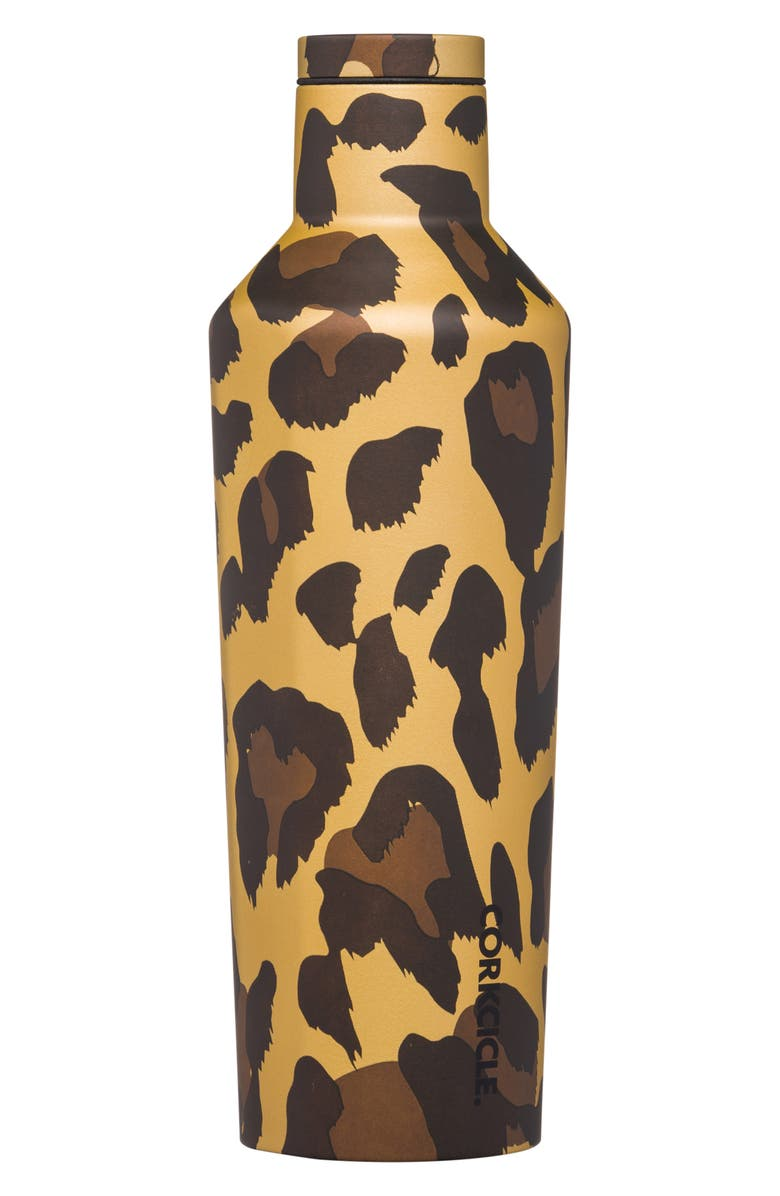 CORKCICLE Luxe Leopard Stainless Steel Canteen, Main, color, LUXE LEOPARD