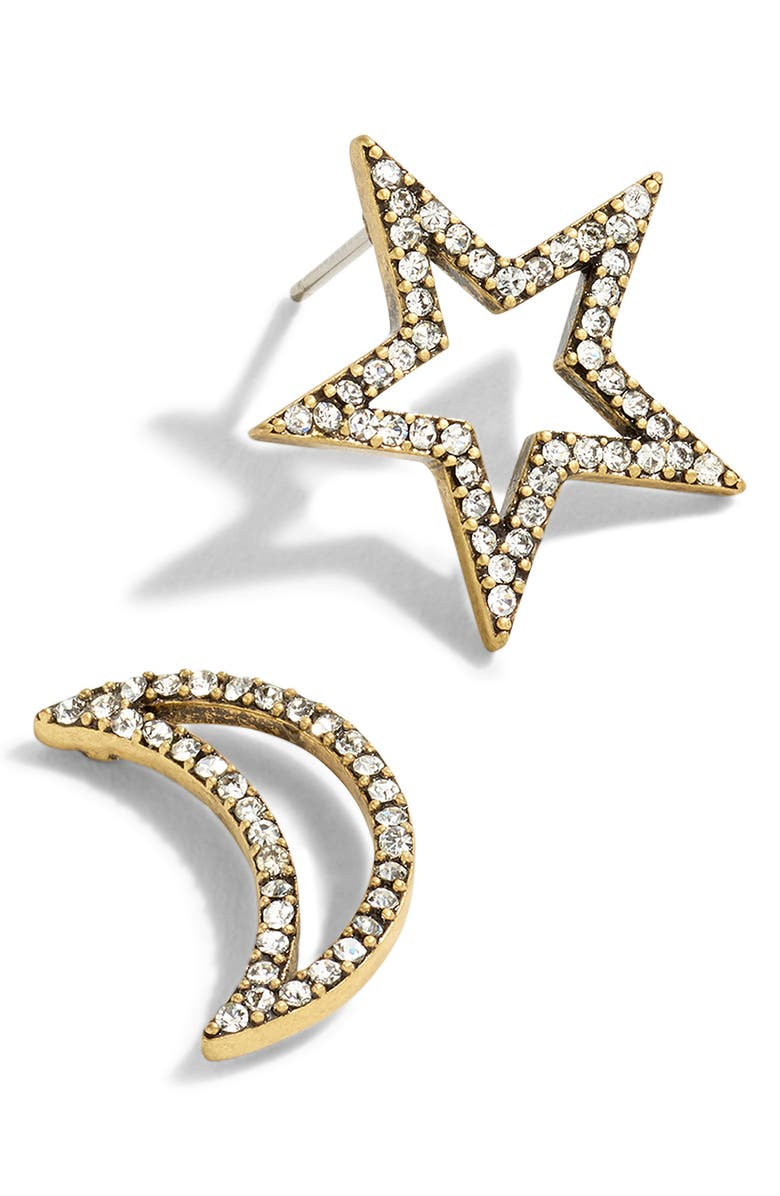 J.CREW Mismatched Celestial Stud Earrings, Main, color, CRYSTAL