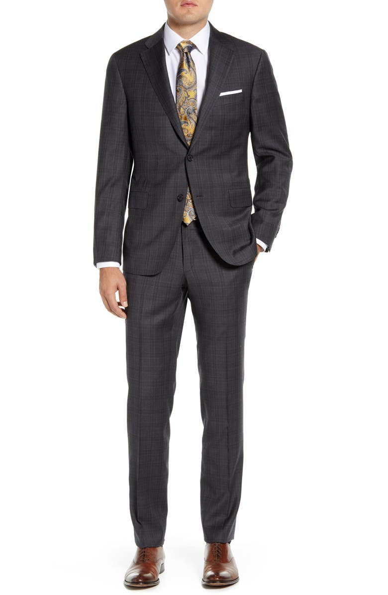 HICKEY FREEMAN Modern H Fit Plaid Wool Suit, Main, color, DARK GREY