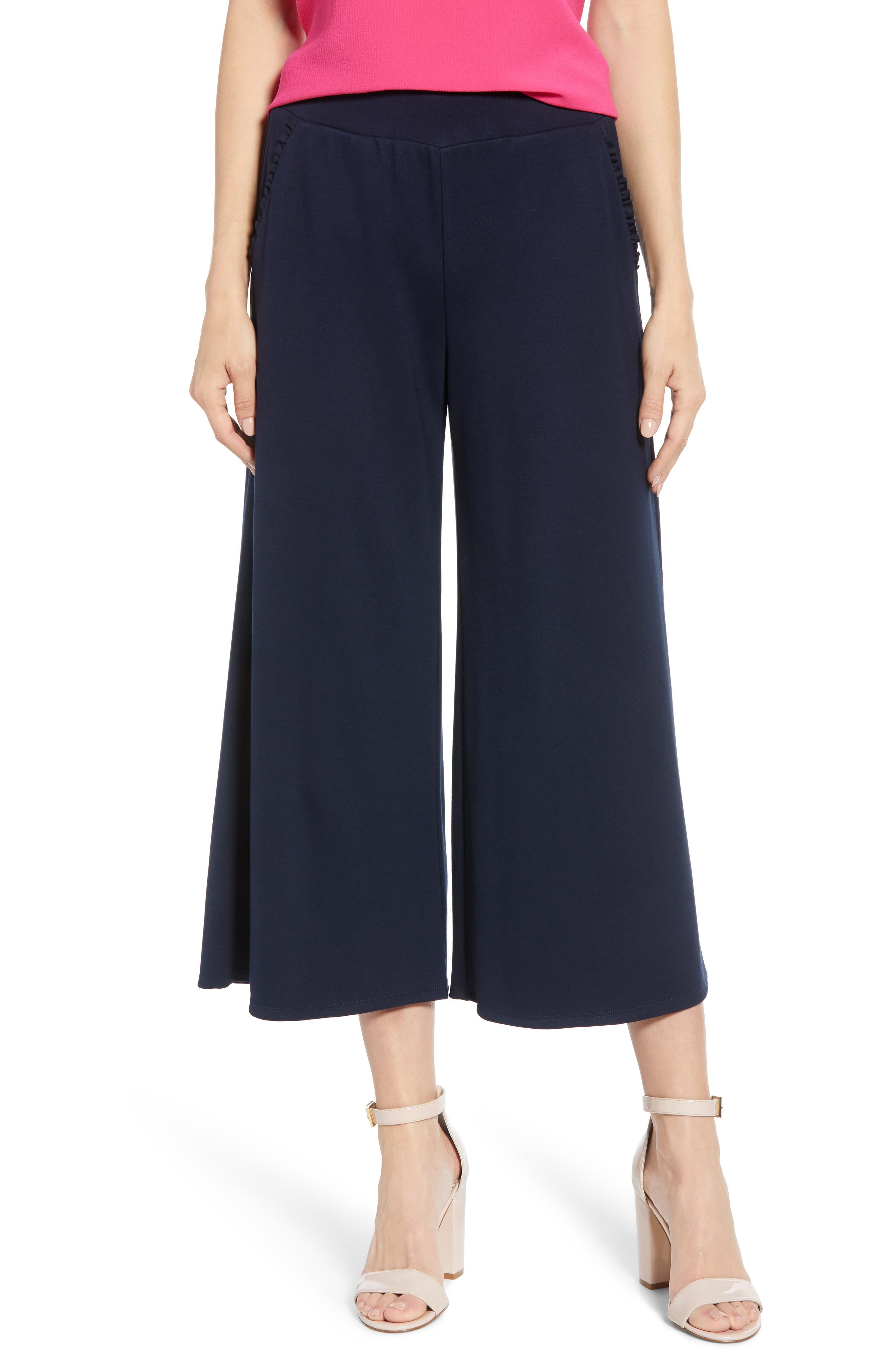 ,                             x Living in Yellow Wide Leg Crop Pants,                             Main thumbnail 1, color,                             NAVY