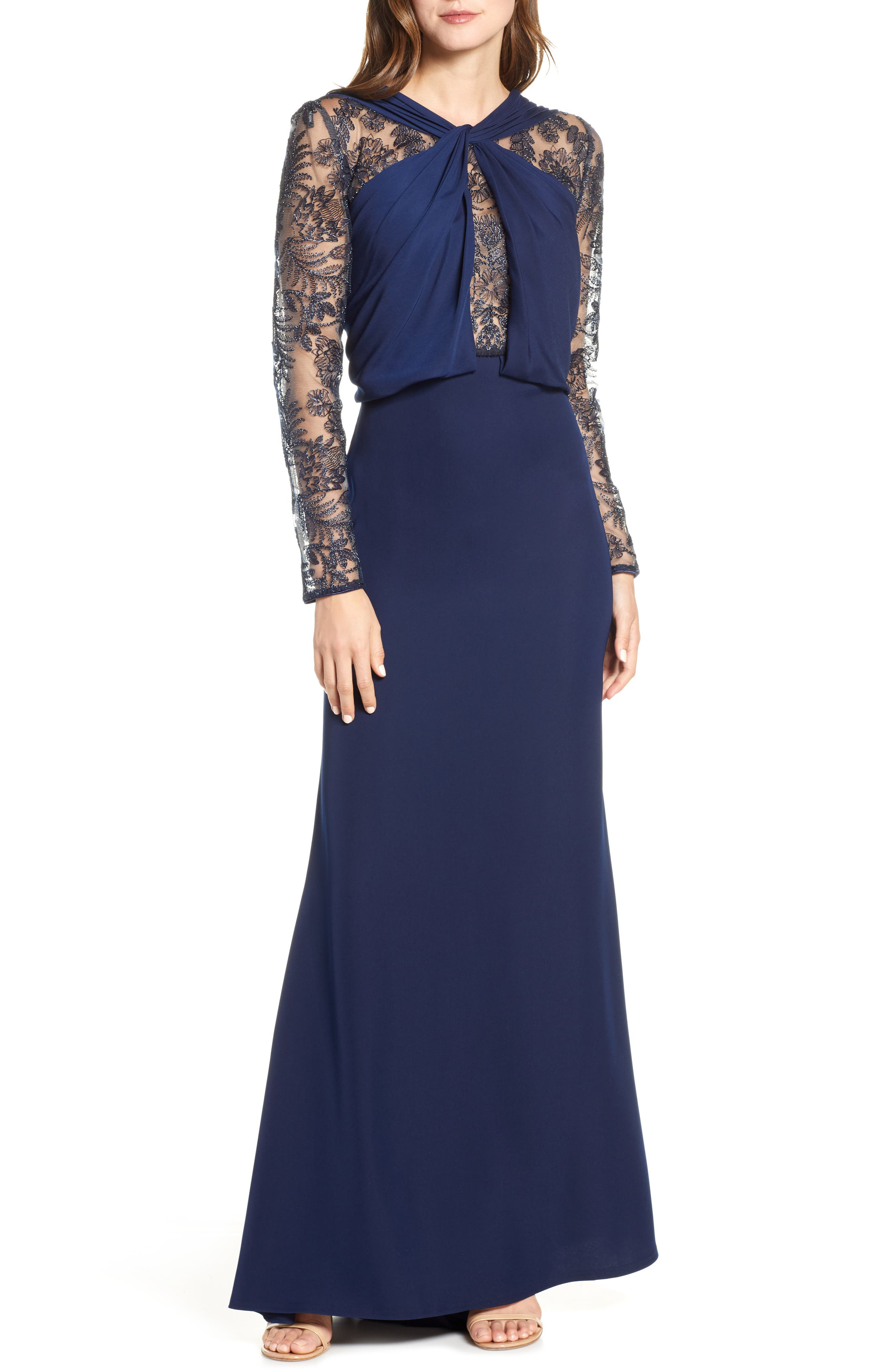 Tadashi Shoji Embroidered Mesh & Crepe Long Sleeve Gown, Blue