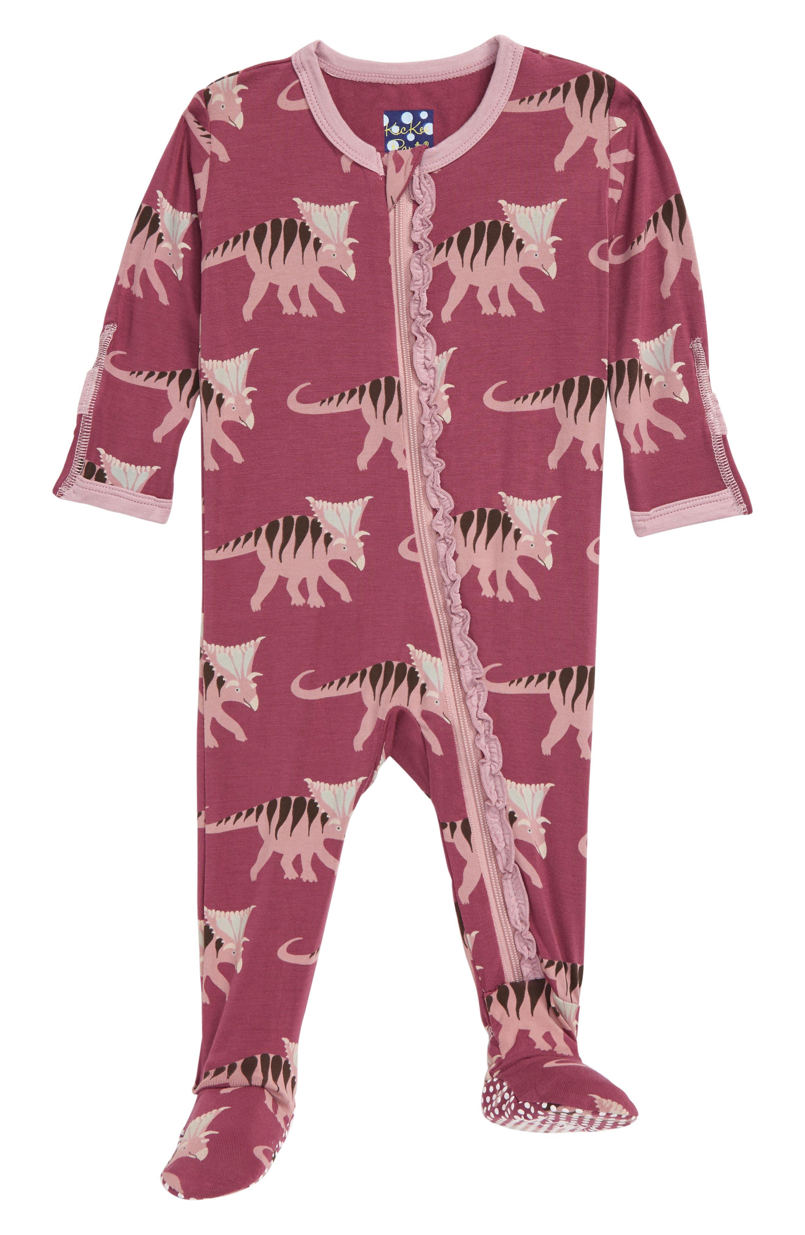 Infant Girls Kickee Pants Muffin Ruffle Footie Size 1824M  Purple