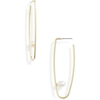 Jules Smith Imitation Pearl Hoop Drop Earrings