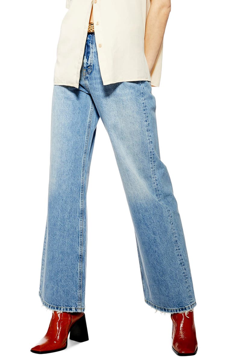 TOPSHOP High Waist Wide Leg Jeans, Main, color, 450