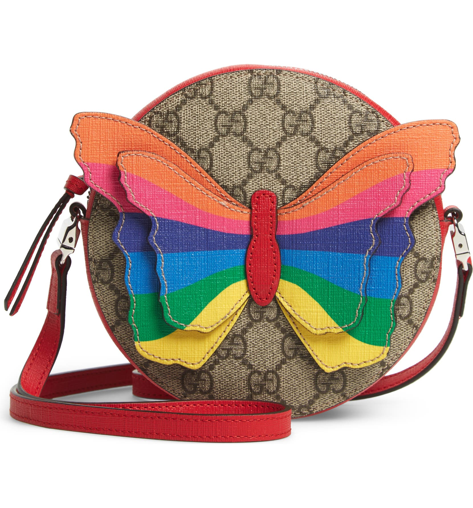 3233ba72026d Gucci GG Supreme Rainbow Butterfly Crossbody Bag (Kids) | Nordstrom