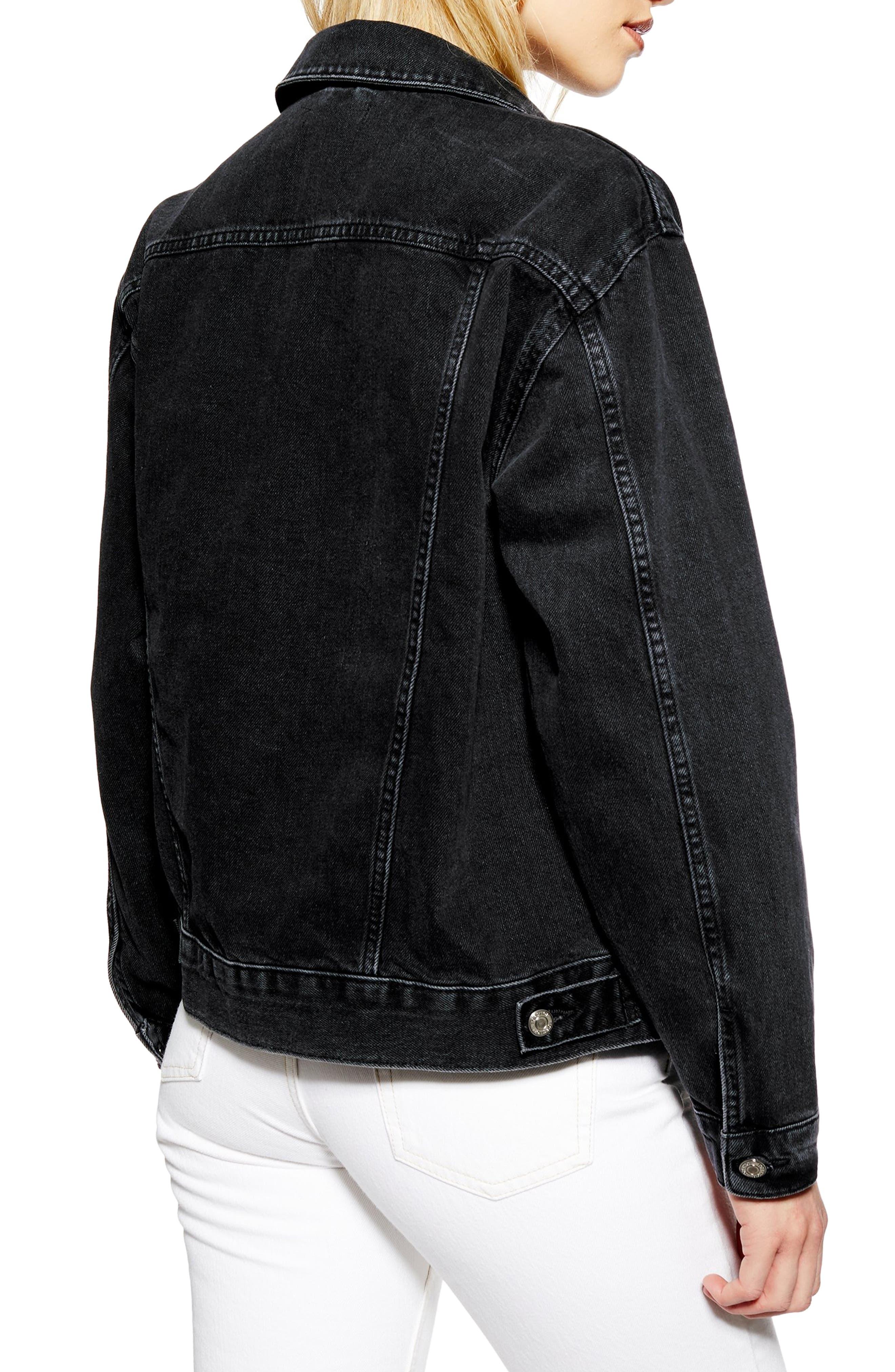 ,                             Oversize Denim Jacket,                             Alternate thumbnail 2, color,                             WASHED BLACK