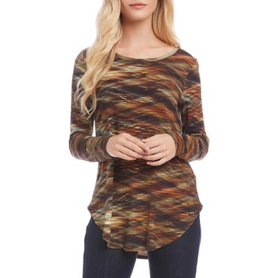 Karen Kane Printed Shirttail Top, Green