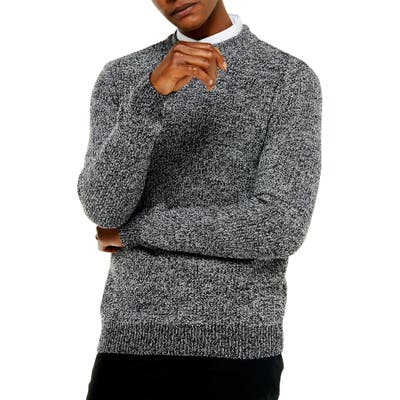 Topman Jaspe Crewneck Sweater, Grey