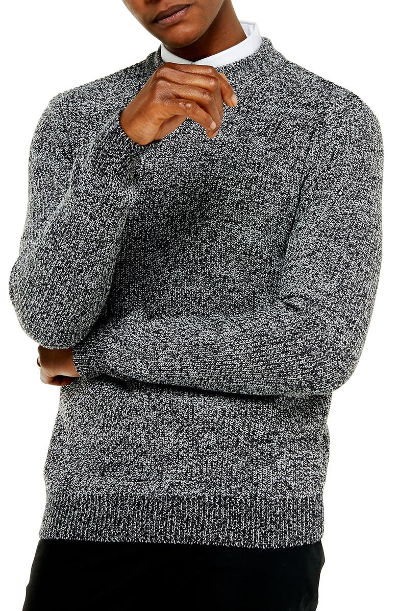 TOPMAN Jaspé Crewneck Sweater, Main, color, GREY
