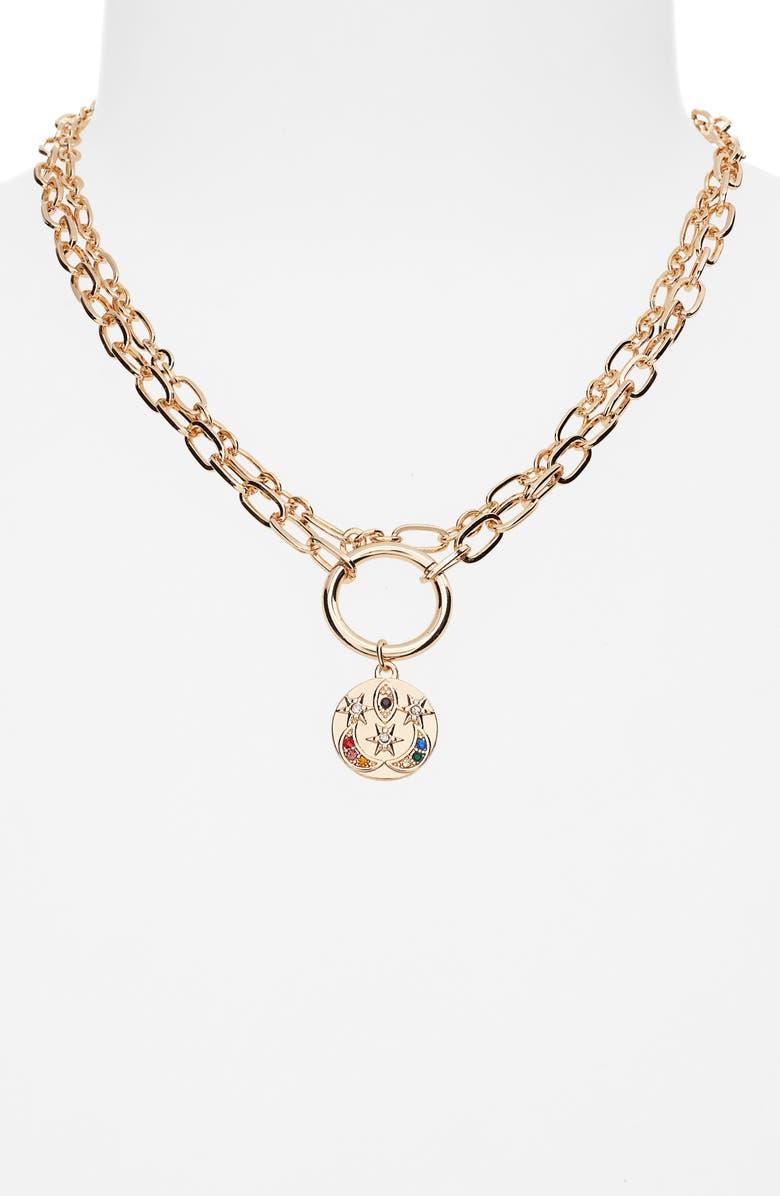 BP. Celestial Layered Pendant Necklace, Main, color, GOLD MULTI