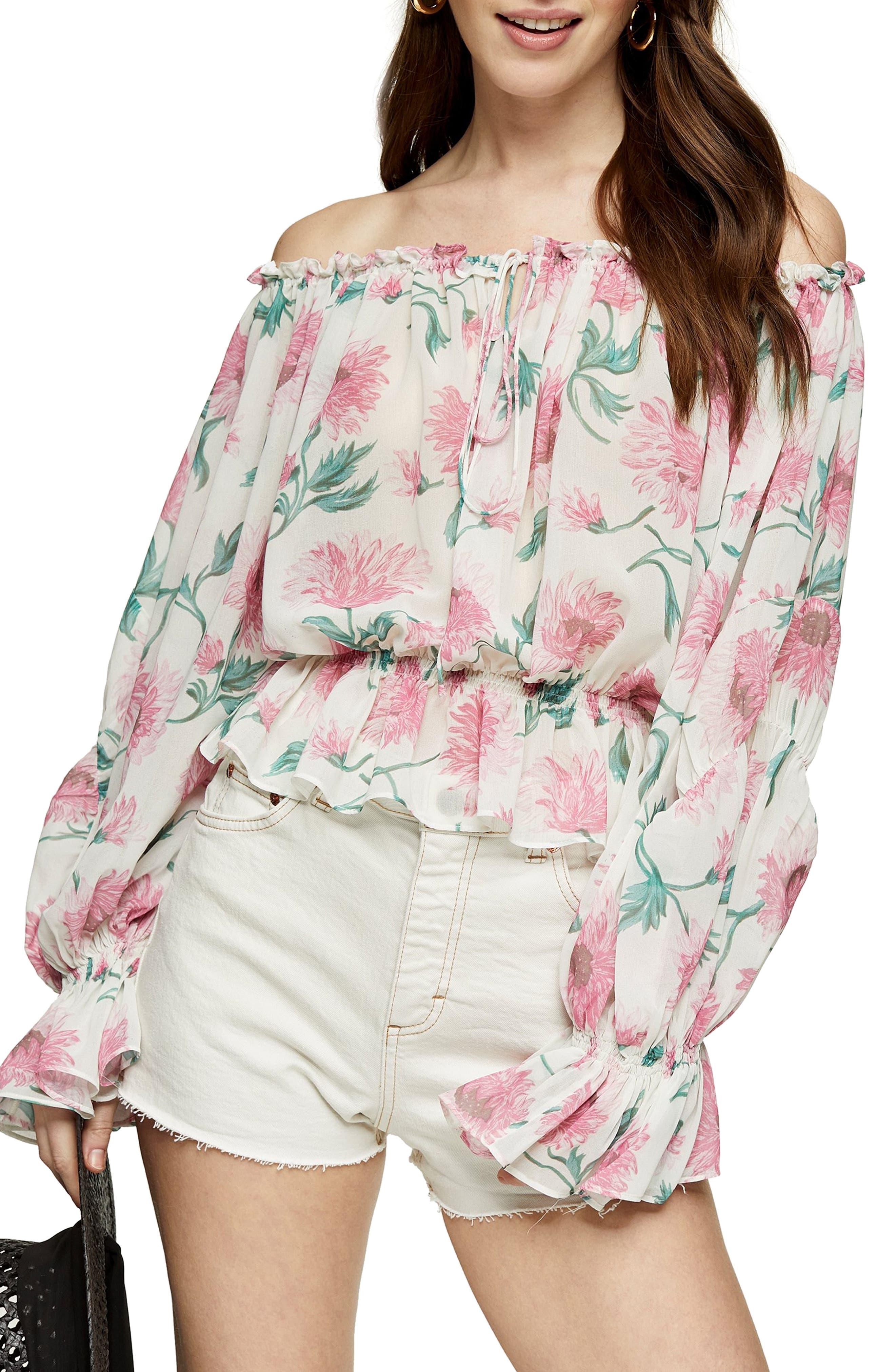 Topshop Floral Print Off the Shoulder Blouse | Nordstrom