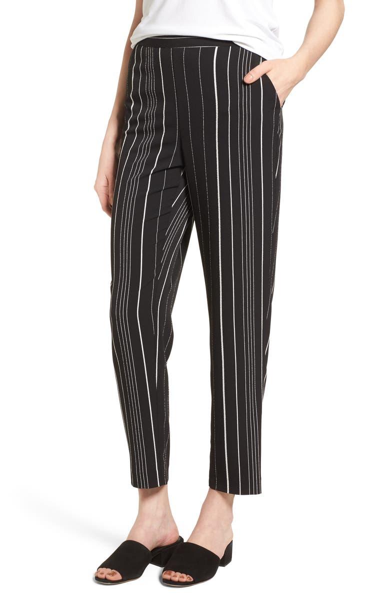 VINCE CAMUTO Stripe Slim Leg Pants, Main, color, 006