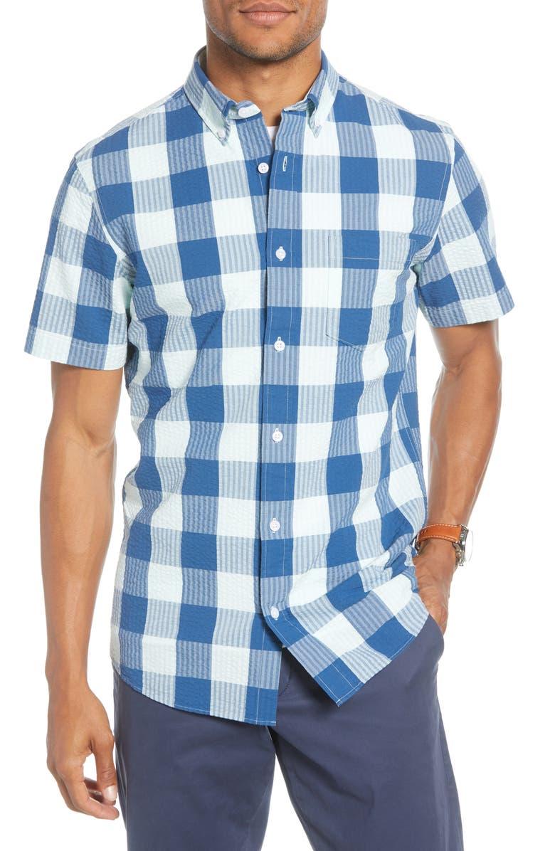 1901 Trim Fit Check Short Sleeve Seersucker Button-Down Shirt, Main, color, TEAL BLUE SEERSUCKER CHECK