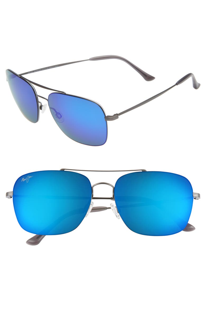 MAUI JIM Lava Tube 57mm PolarizedPlus2<sup>®</sup> Aviator Sunglasses, Main, color, DARK GUNMETAL/BLUE HAWAII