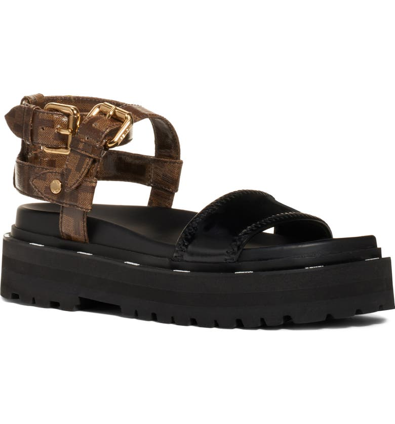 FENDI Combat Sandal, Main, color, BROWN/ BLACK