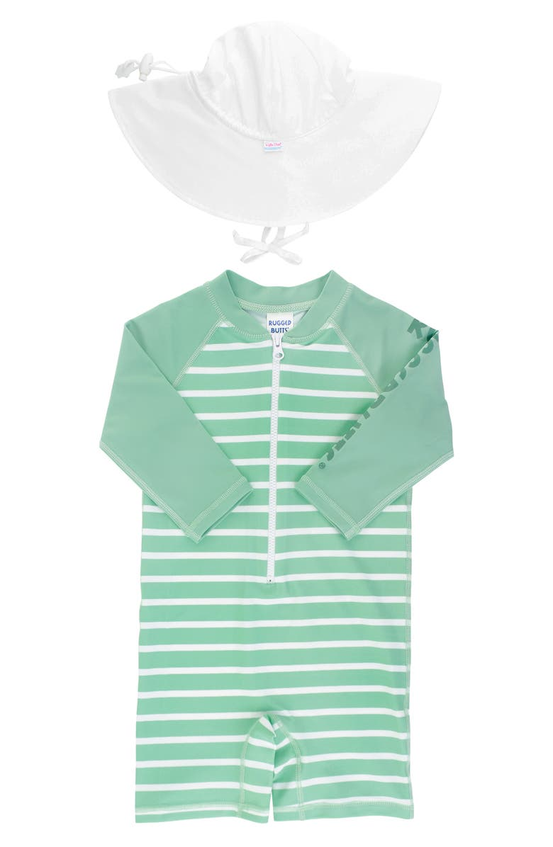 RUGGEDBUTTS Stripe One-Piece Rashguard Swimsuit & Hat Set, Main, color, 100