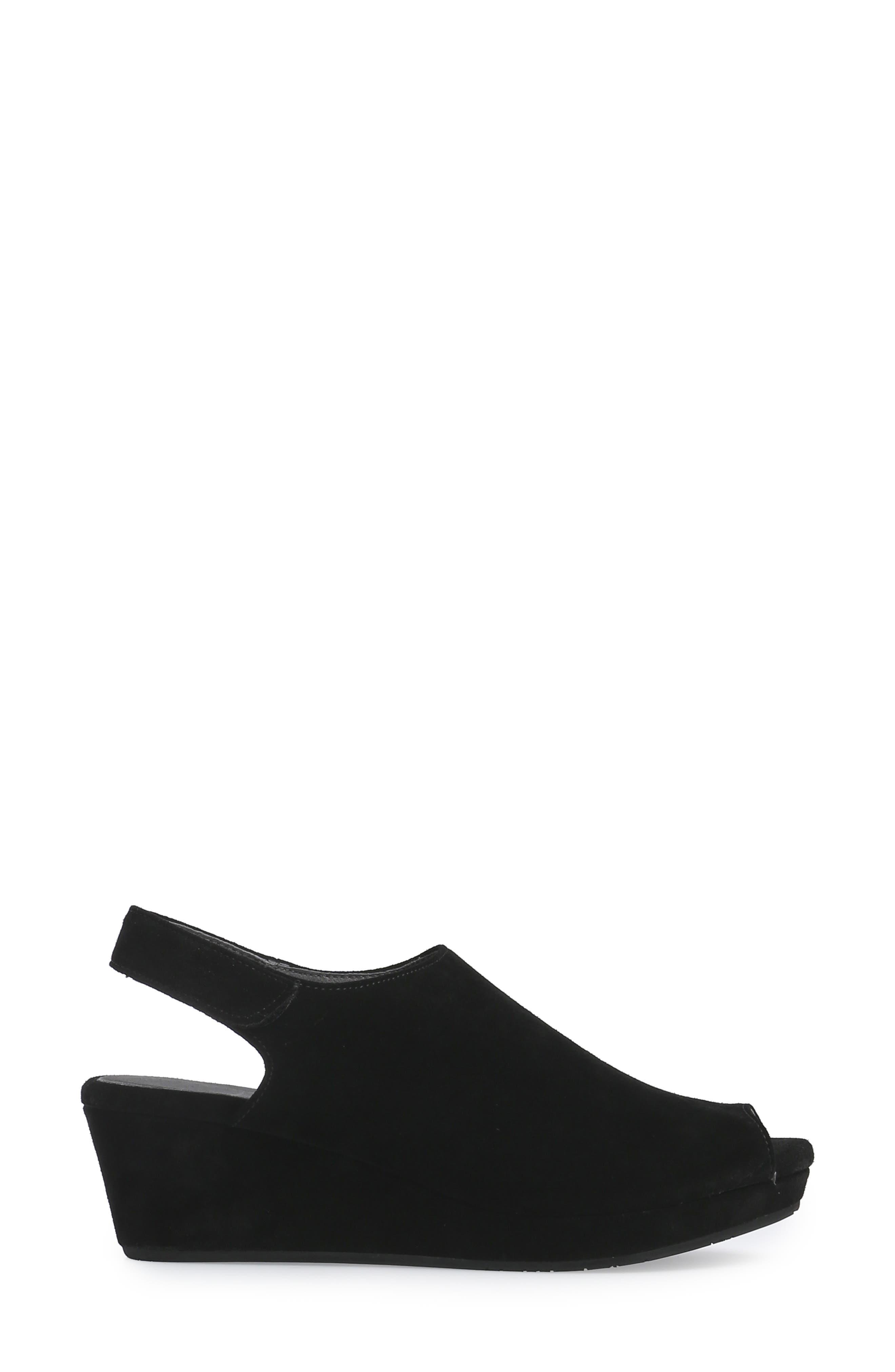 ,                             Yana Wedge Sandal,                             Alternate thumbnail 3, color,                             BLACK SUEDE