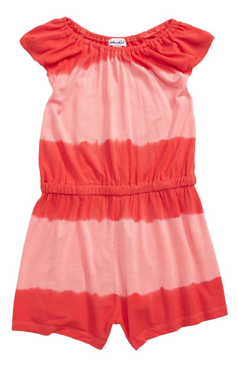 SPLENDID Tie Dye Stripe Romper, Main, color, CAYENNE