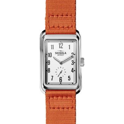 Shinola Omaha Rectangular Braided Nylon Strap Watch, 2m X 37Mm