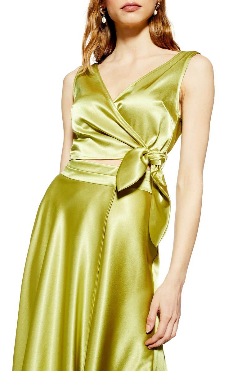 TOPSHOP Satin Sleeveless Tie Top, Main, color, OLIVE