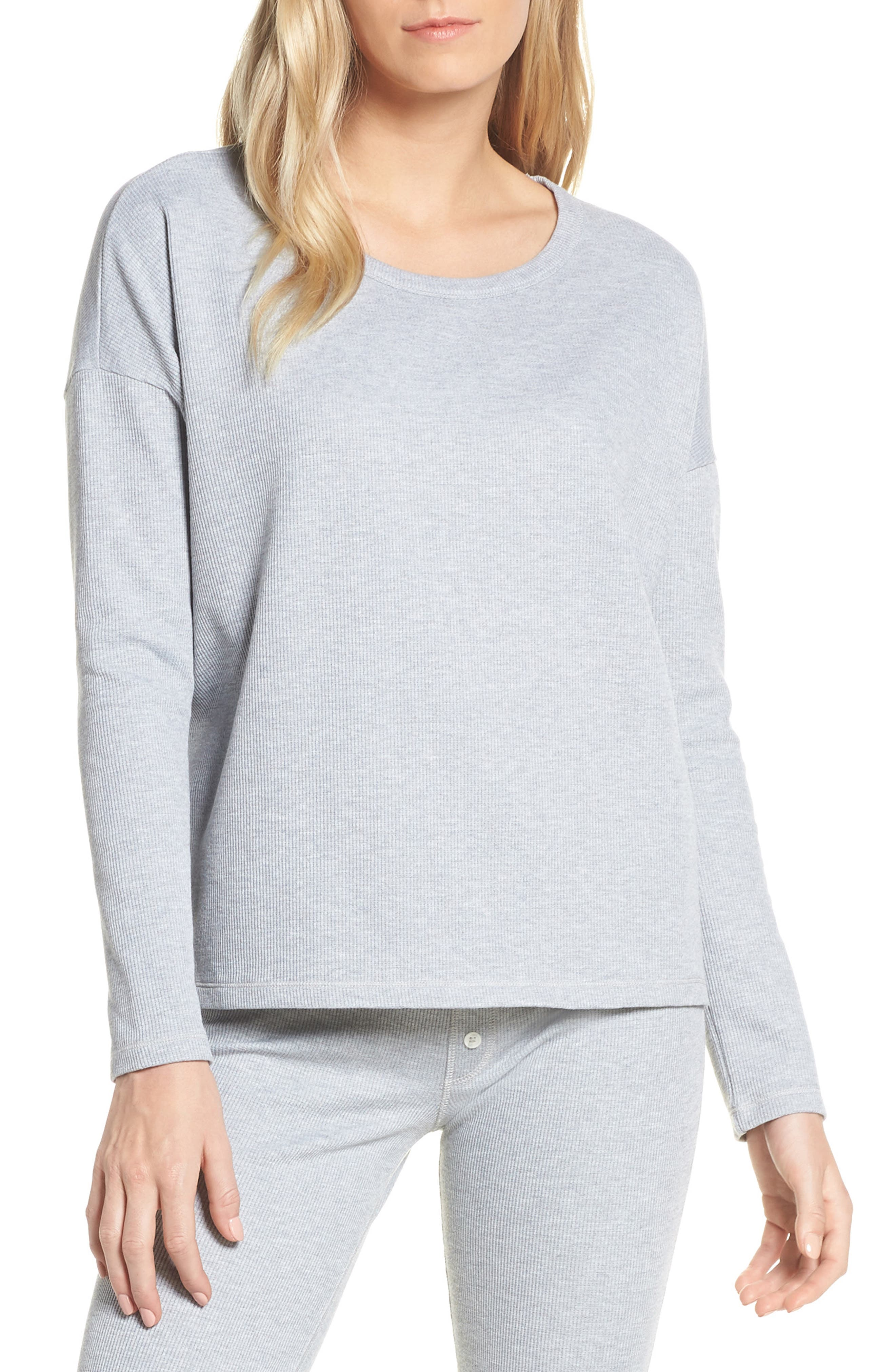 Madewell Waffle Knit Pajama Tee, Grey