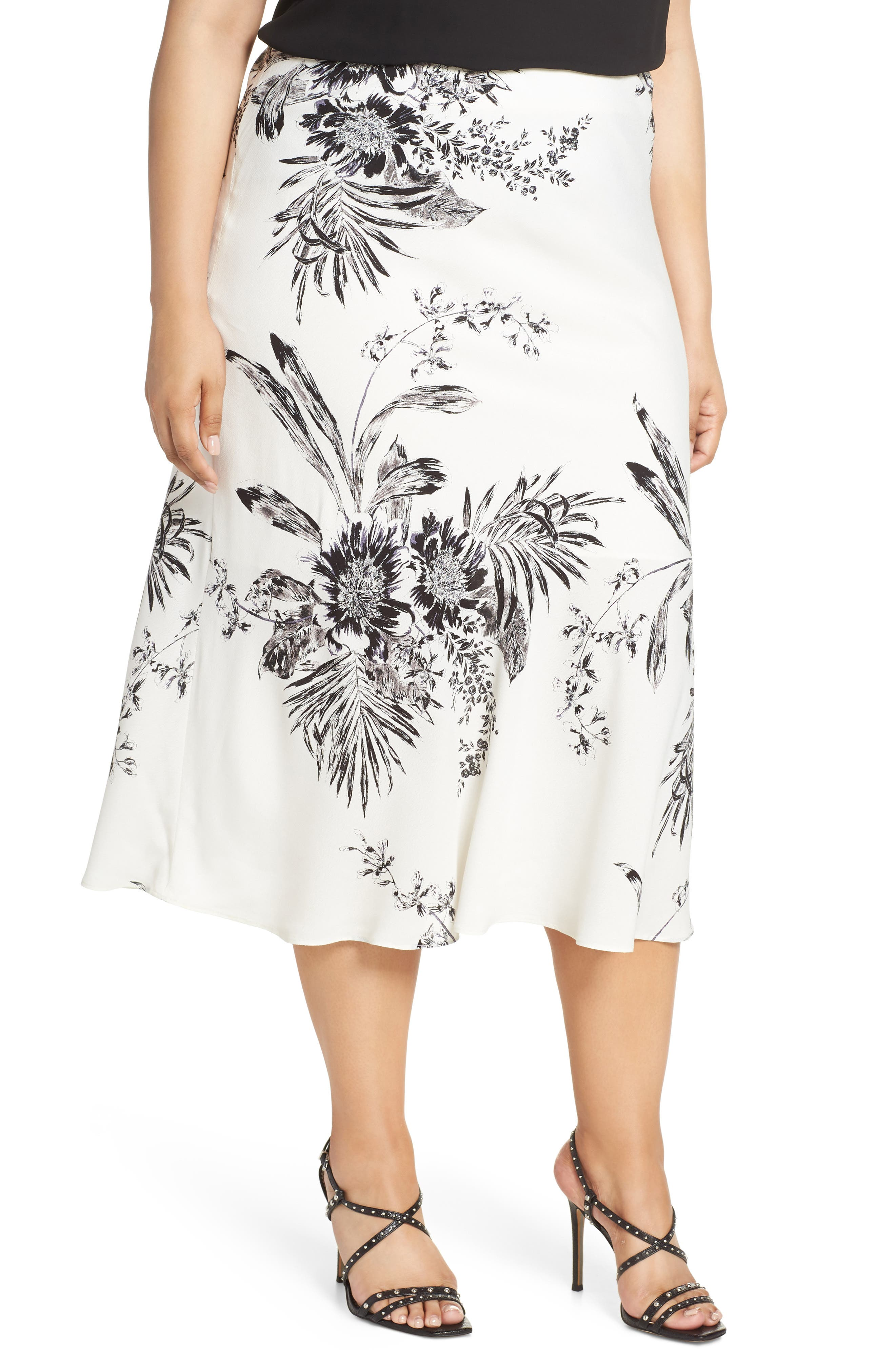 Plus Size Leith Bias Cut Midi Skirt, Ivory