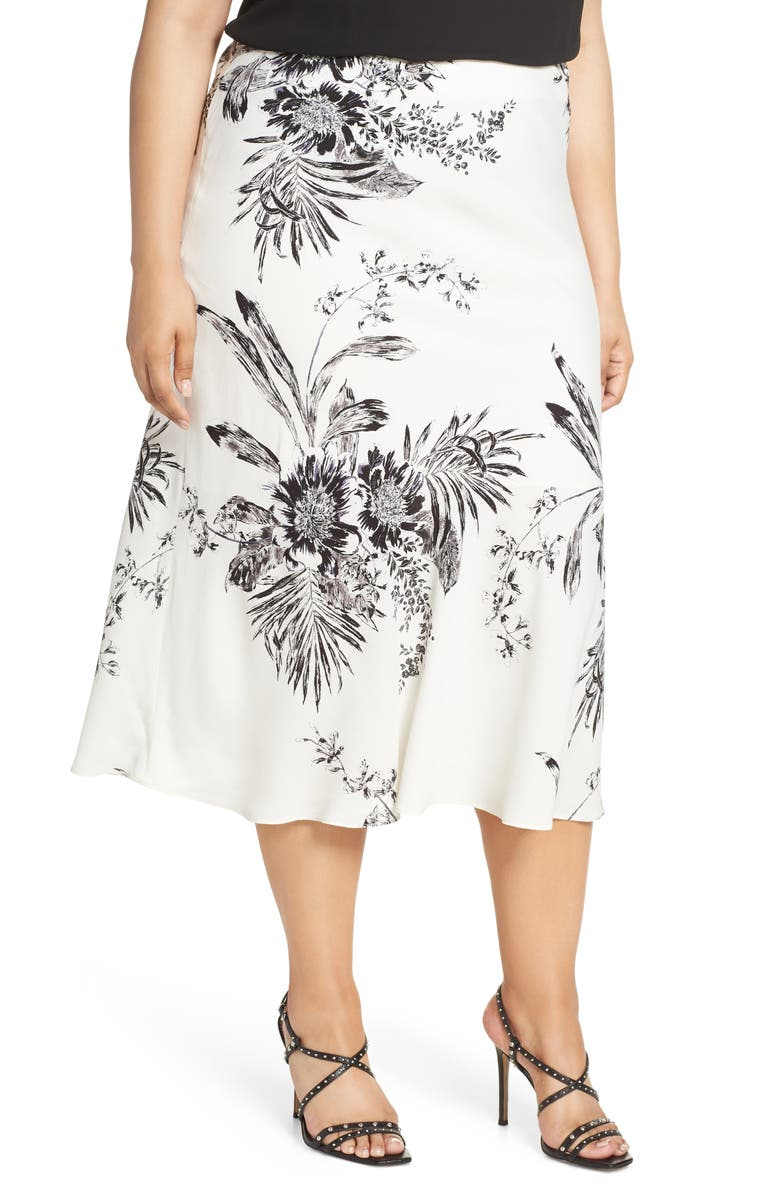 LEITH Bias Cut Midi Skirt, Main, color, IVORY ILLUSTRATED FLORAL