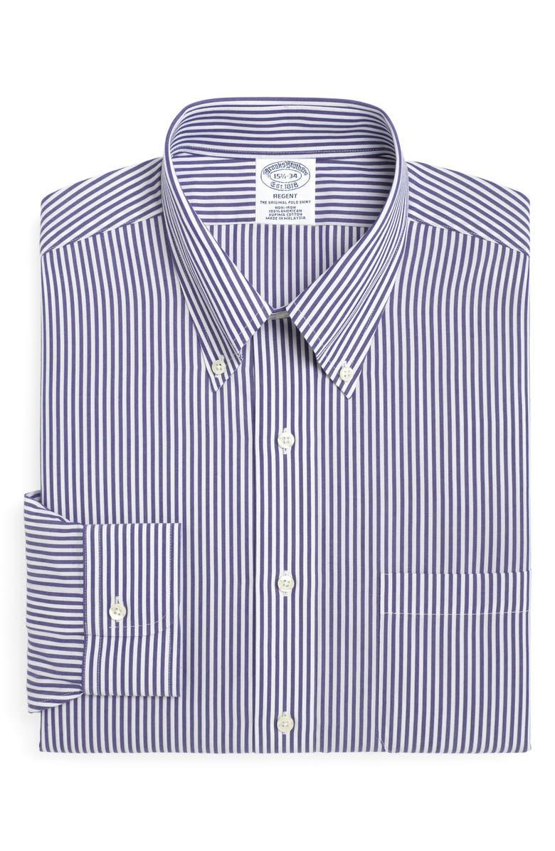BROOKS BROTHERS Regent Regular Fit Stripe Dress Shirt, Main, color, BLUE