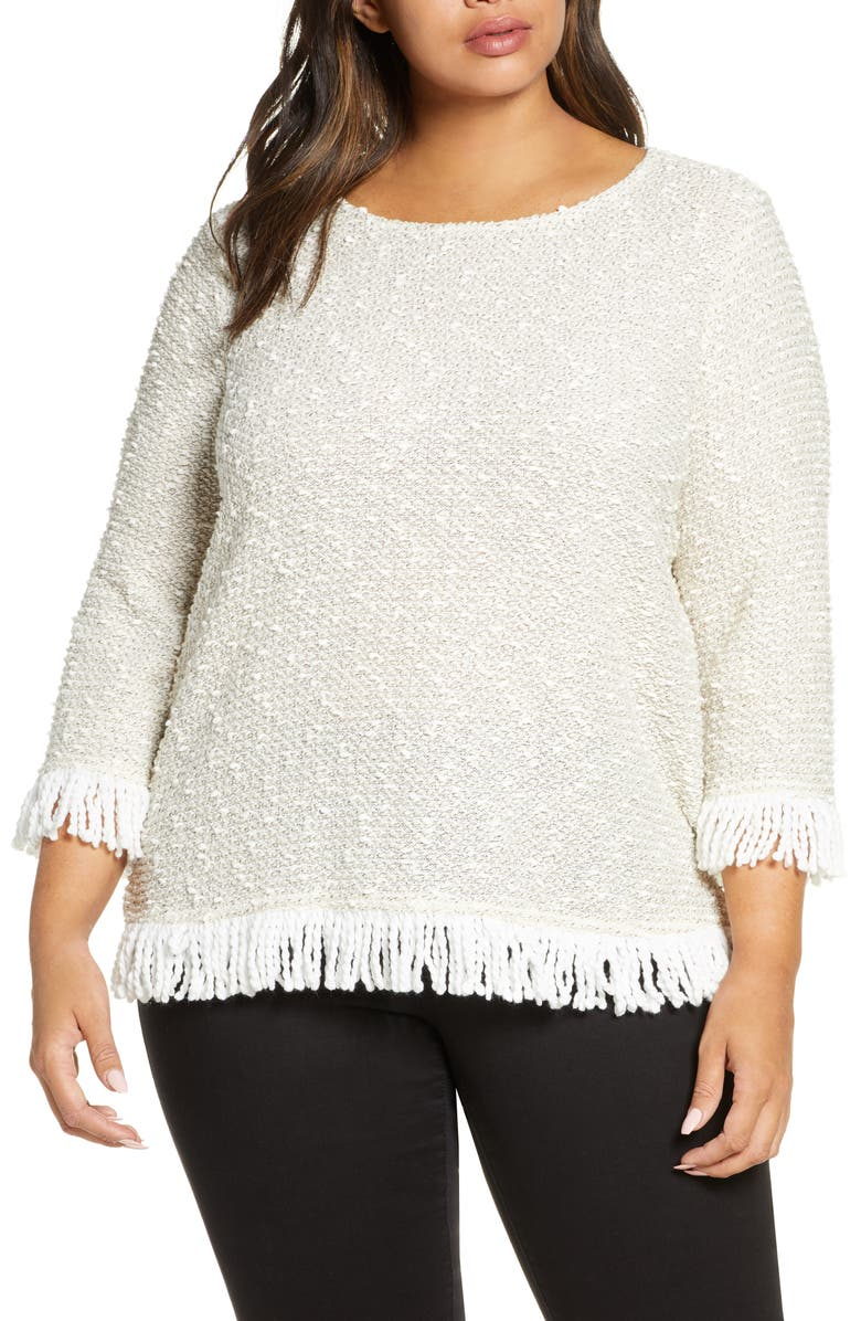 VINCE CAMUTO Fringe Trim Sweater, Main, color, ANTIQUE WHITE