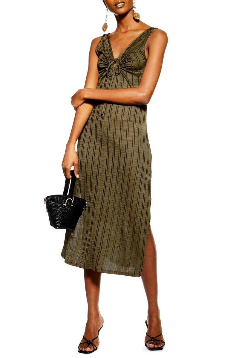 TOPSHOP Keyhole Stripe Midi Dress, Main, color, GREEN