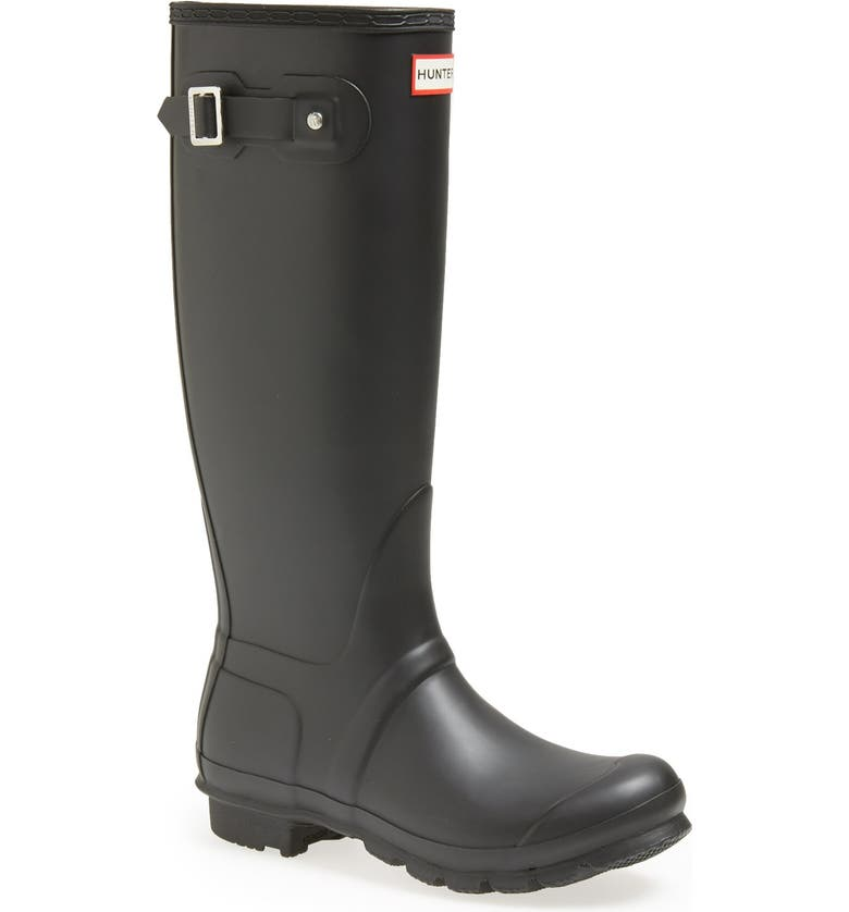 HUNTER Original Tall Waterproof Rain Boot, Main, color, BLACK MATTE