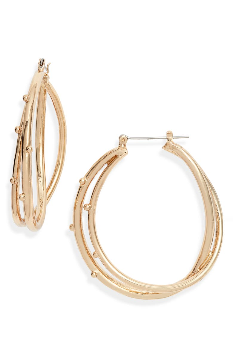 HALOGEN<SUP>®</SUP> Dotted Swirl Hoop Earrings, Main, color, GOLD