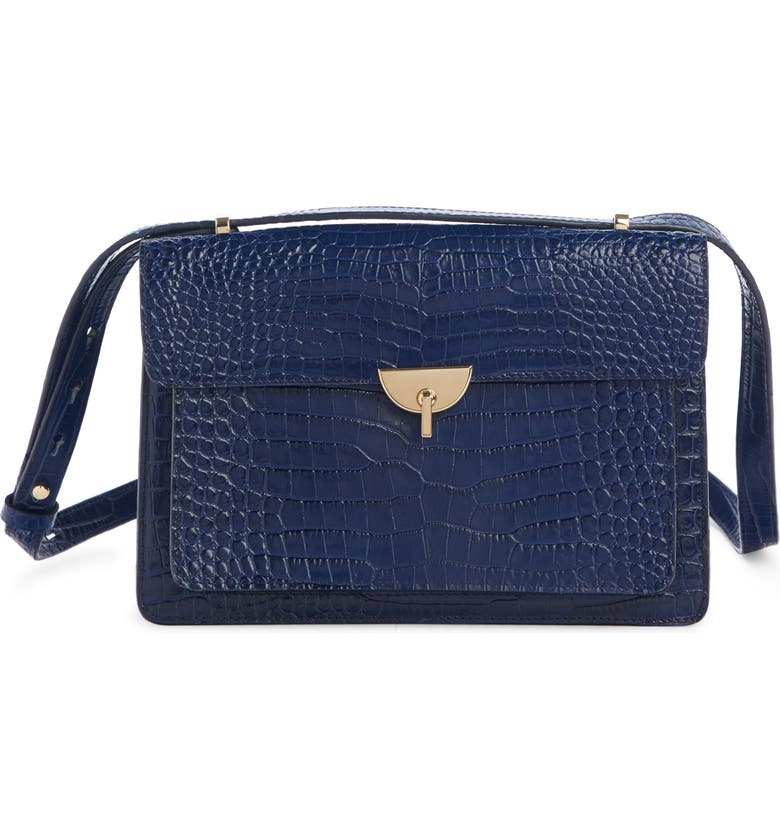 DRIES VAN NOTEN Croc Embossed Leather Crossbody Bag, Main, color, 400