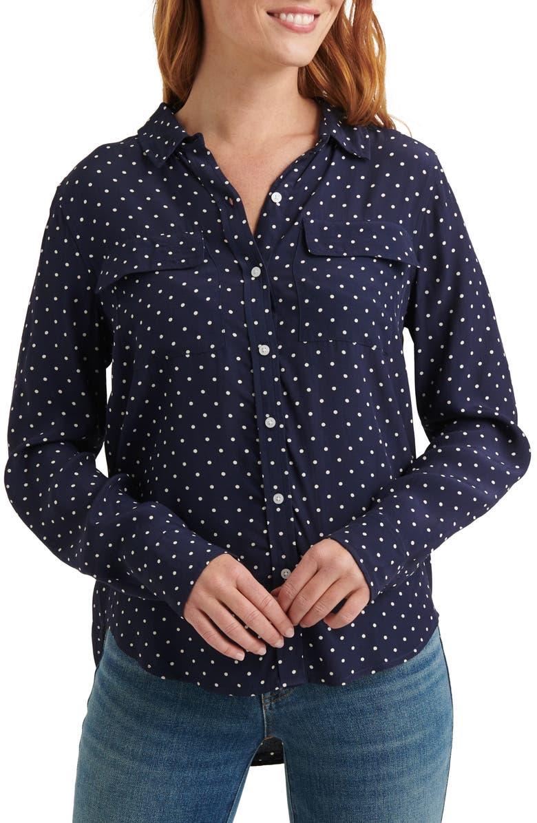 LUCKY BRAND Polka Dot Utility Shirt, Main, color, NAVY MULTI