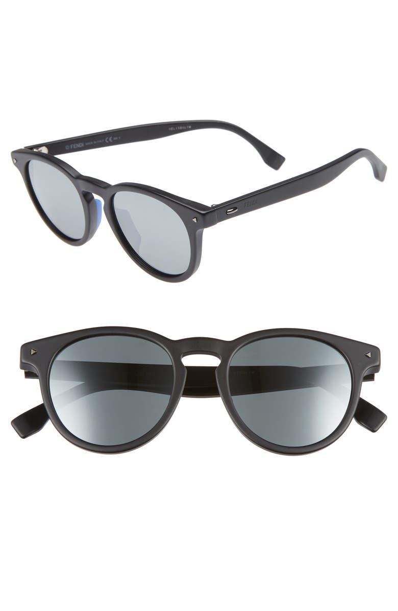 FENDI 49mm Round Sunglasses, Main, color, MATTE BLACK