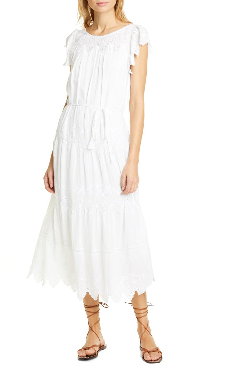LA VIE REBECCA TAYLOR Embroidered Voile Dress, Main, color, MILK